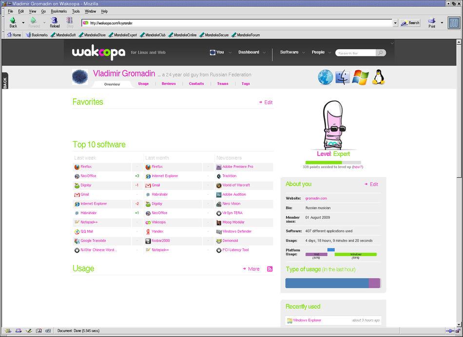 Mandrake Linux 9.0. KDE, Mozilla 1.1, Wakoopa