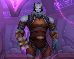 Дреней-паладин из игрового меню. World of Warcraft