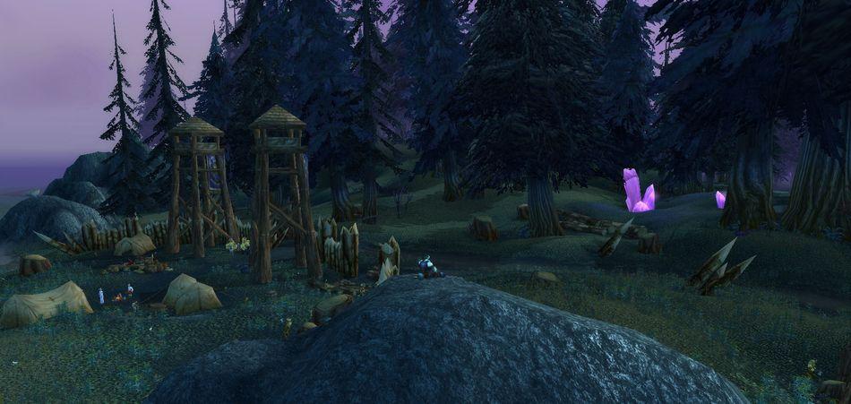 Дреней-паладин на фоне леса и пиратов. World of Warcraft