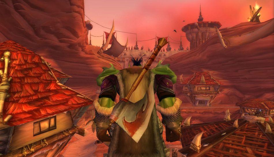 Орк, воин. Оргриммар, вечерний вид. World of Warcraft