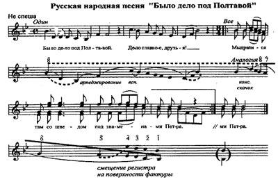 Образец сделанного Б.Т.Плотниковым анализа русской народной песни «Было дело под Полтавой»